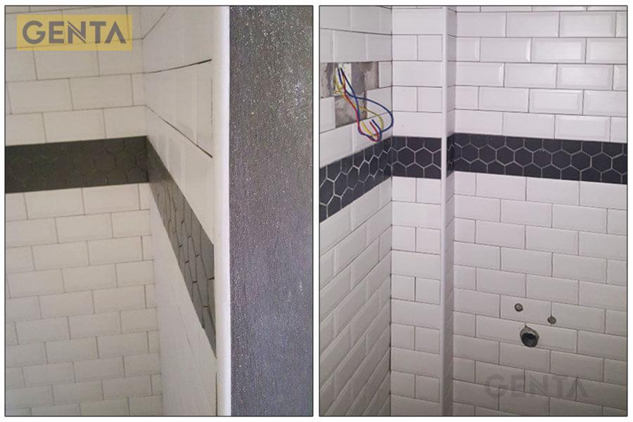 Phòng vệ sinh dùng nẹp nhựa bo góc tròn