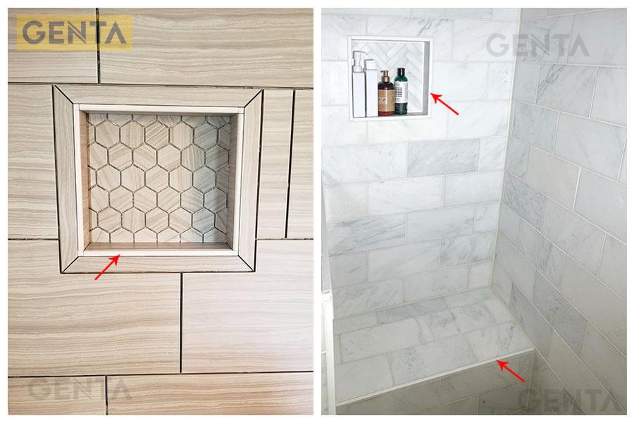 Ứng dụng nẹp nhựa góc vuông TH-12 trong phòng tắm