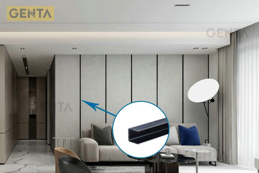 Nẹp U âm inox 10mm S-UA10 đen bóng tạo chỉ vách tường