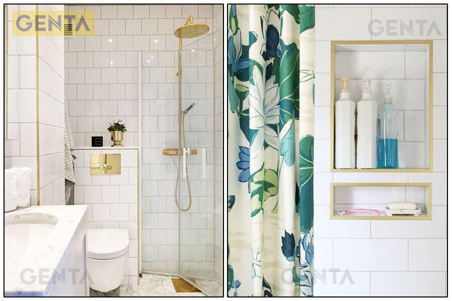 Khu vực phòng tắm dùng nẹp góc nhôm TSAP100 vàng bóng