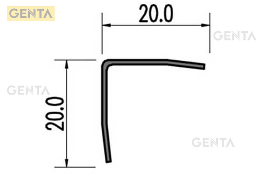 Mặt cắt minh họa của nẹp inox S-V20