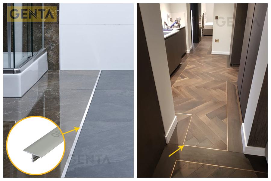 Nẹp nhôm chữ T CVAC220 tạo đường chỉ trang trí trên sàn