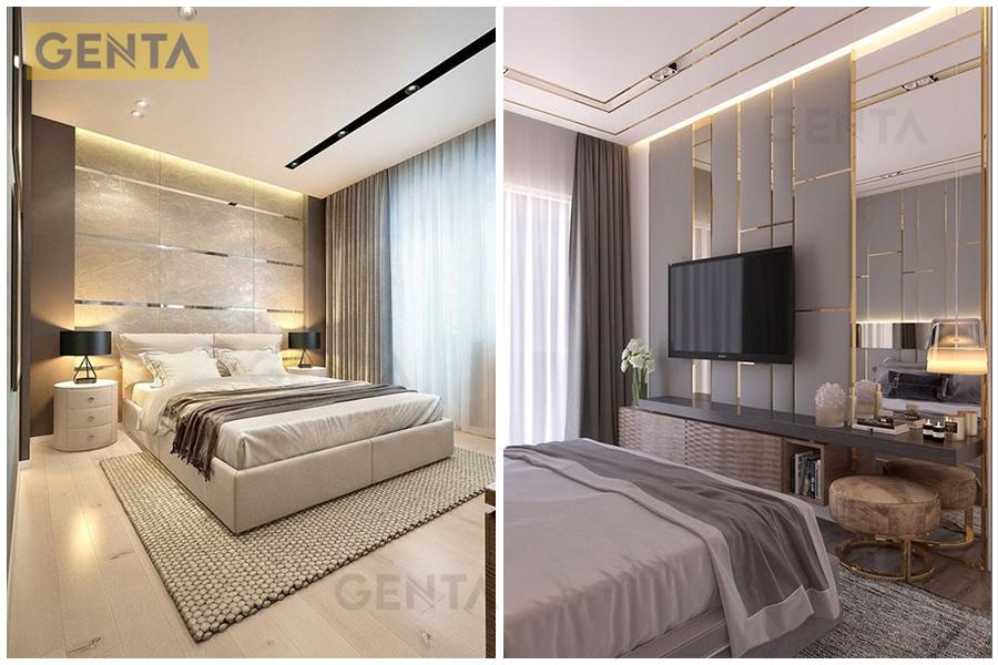 Vách phòng khách, vách phòng ngủ dùng nẹp nhôm chữ T CVAC220 trang trí