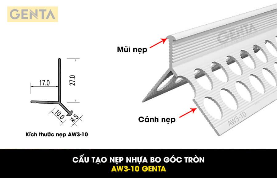 Cấu tạo nẹp nhựa bo tròn AW3-10