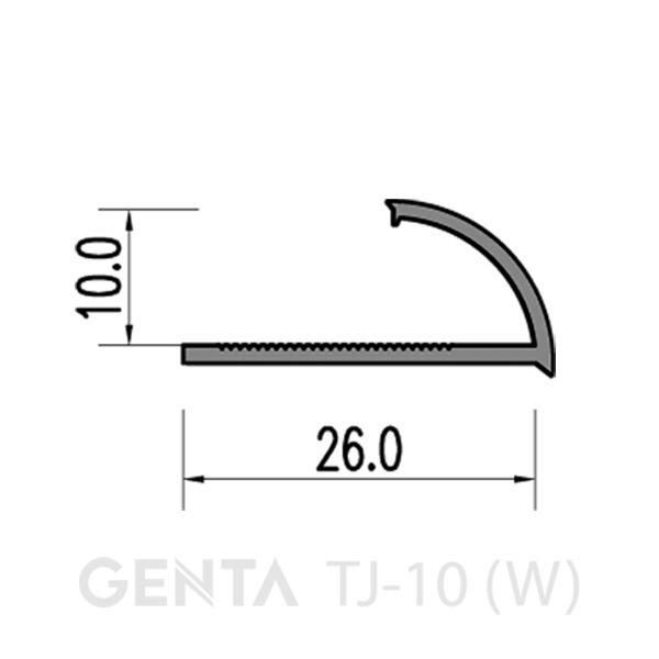 mặt cắt nẹp TJ-10 (W)