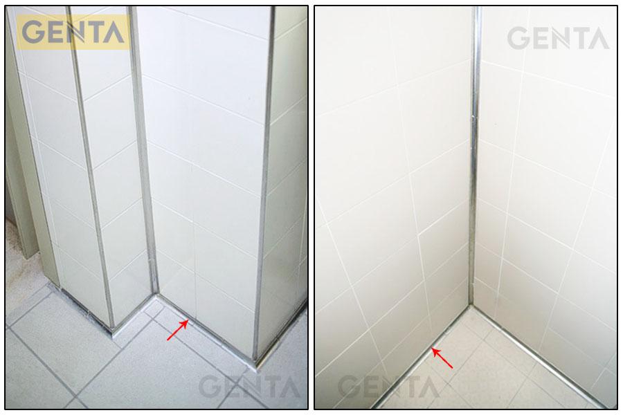 Vị trí tường giao với sàn sử dụng nẹp góc trong TI120