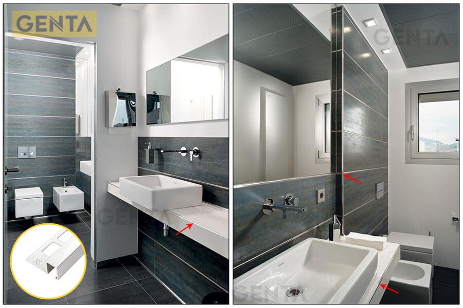 Ứng dụng nẹp góc vuông nhôm trong nhà vệ sinh