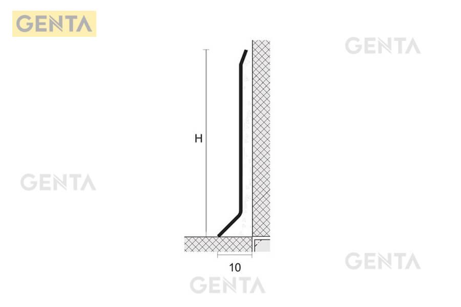 Cấu tạo len chân tường inox 304 S-CD 10mm che khe hở thi công giữa sàn - tường