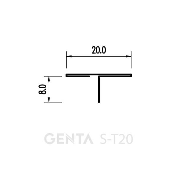 Mặt cắt nẹp T sàn gỗ S-T20