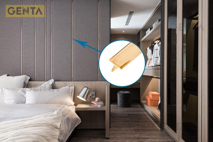Nẹp tạo chỉ trang trí vách tường phòng ngủ
