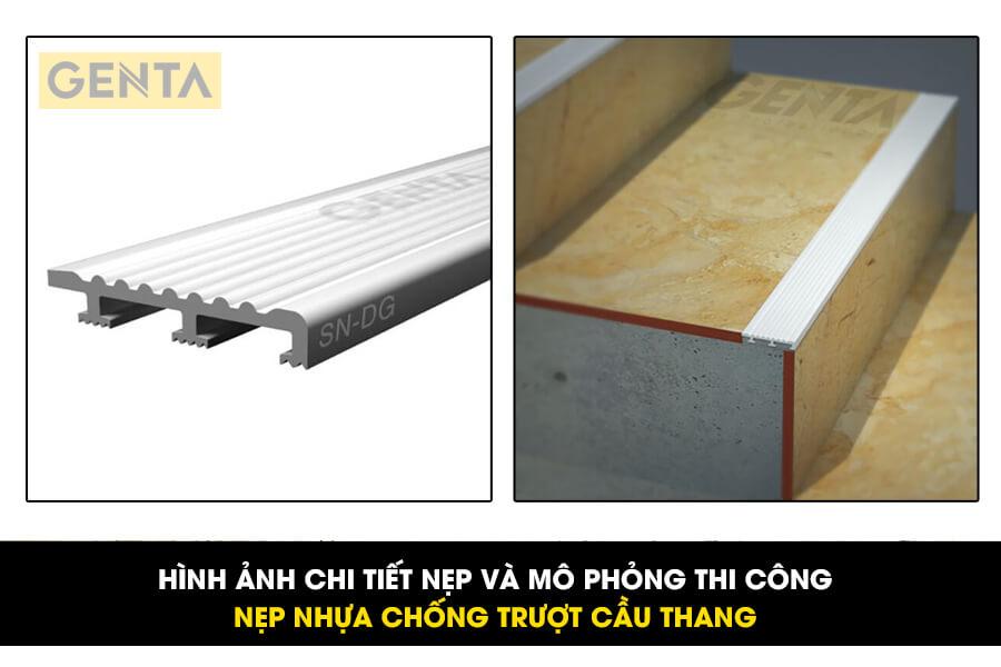 Hình ảnh mô phỏng nẹp nhựa chống trượt cầu thang GENTA