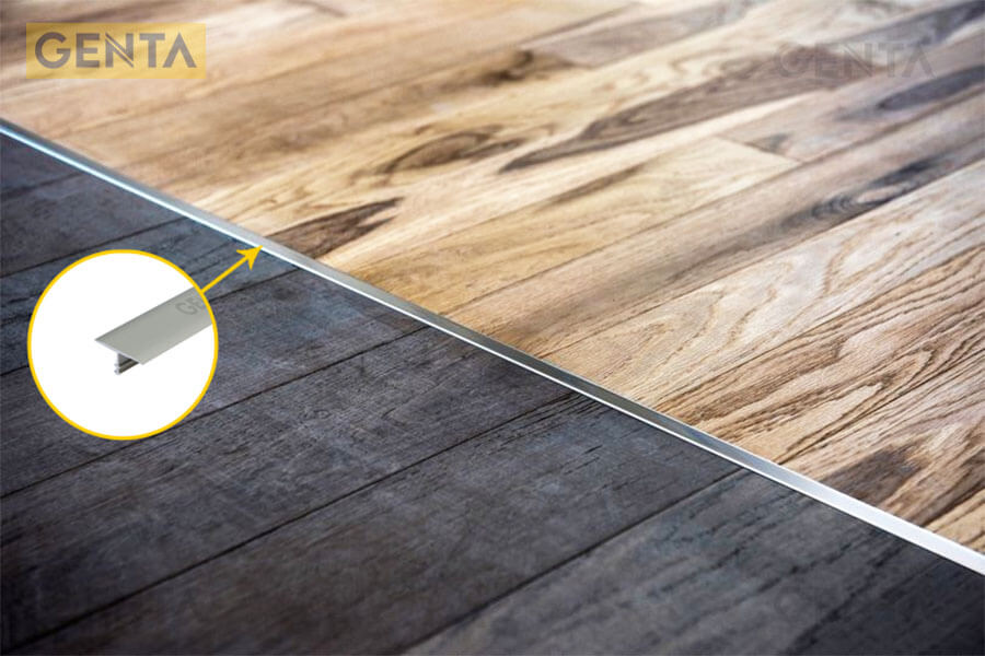 Nẹp nối sàn gỗ nhôm T sử dụng để che khe nối
