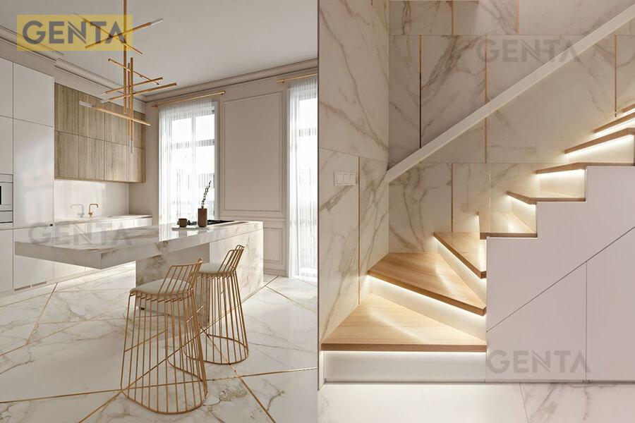 Khu vực bếp và cầu thang của biệt thự