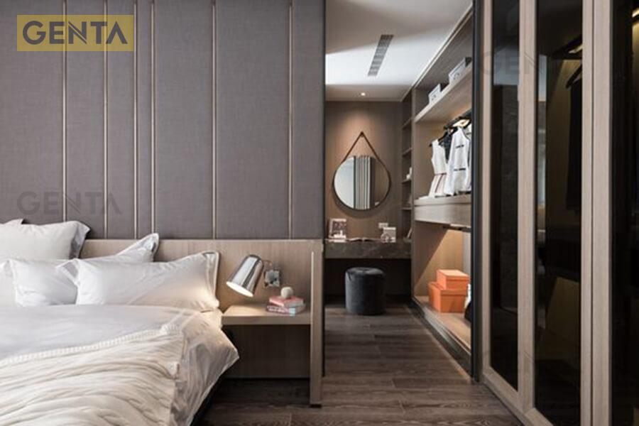 Ứng dụng nẹp la inox 5mm trang trí phòng ngủ